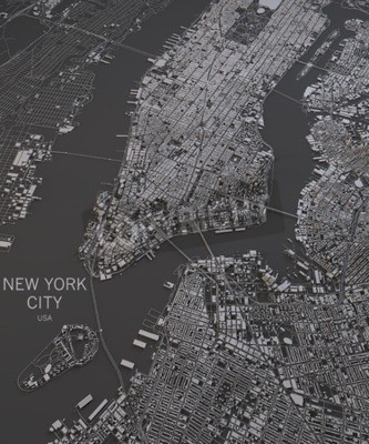 Wall mural New York City map satellite view map in negative