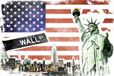 Wall mural New York City vintage collage, US flag background
