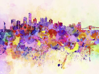 Wall mural New York skyline in watercolor background