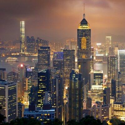 Wall mural Night view to HongKong and Kowloon