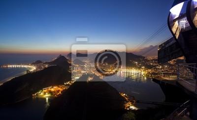 Wall mural Night views of Rio De Janeiro Brazil from Sugar Loaf Mountain