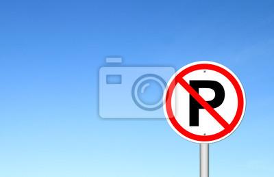 No parking sign over blue sky