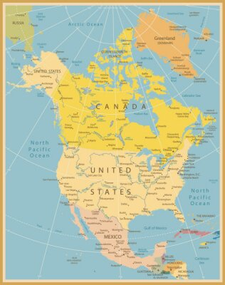 Wall mural North America Detailed Map Vintage Colors