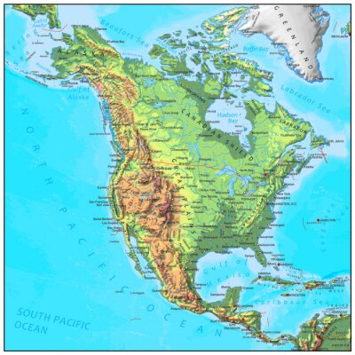 Wall mural North America physical continent map