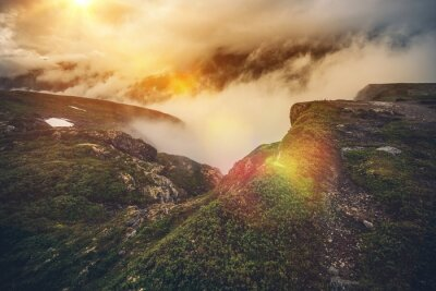 Wall mural Norway Mountains in Clouds