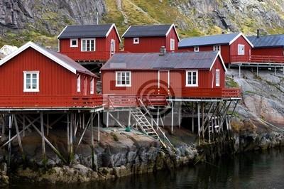 Norwegian fisherman's houses on the shore