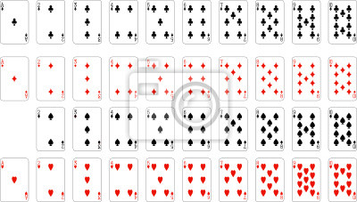 Numbers playing cards (excluding ace of spades)