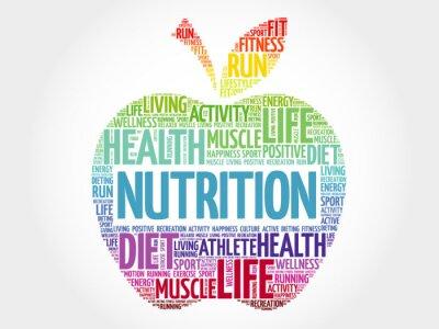 Wall mural Nutrition apple word cloud, health concept