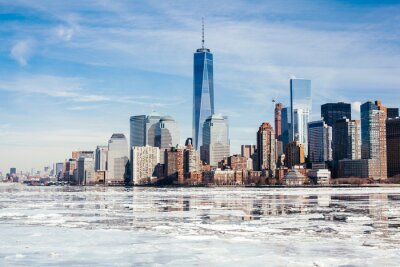 Wall mural NYC, Rarely frozen Hudson River freezes over due to Climate Change and unpredictable weather.