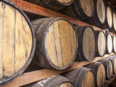 Wall mural Oak barrels storage