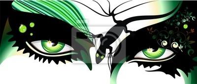 Occhi Verdi Tatuaggio-Green Eyes Tattoo-Vector