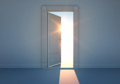 Wall mural Offene Tür mit Sonnenlicht