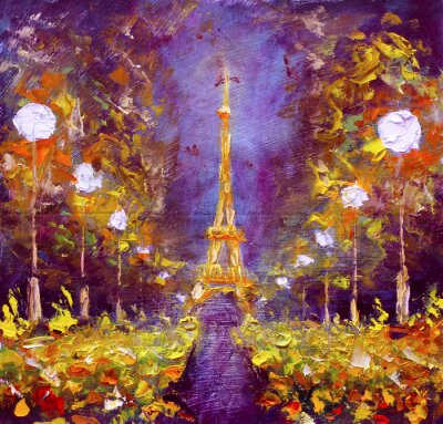Wall mural Oil painting - Eiffel Tower in night France by Rybakow