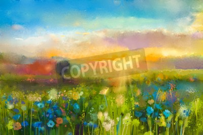 Wall mural Oil painting  flowers dandelion, cornflower, daisy in fields. Sunset  meadow landscape with wildflower, hill and sky in orange and blue color background. Hand Paint summer floral Impressionist style