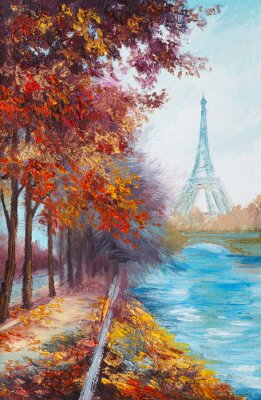 Wall mural Oil painting of Eiffel Tower, France, autumn landscape