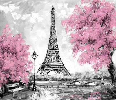 Wall mural Oil Painting, Paris. european city landscape. France, Wallpaper, eiffel tower. Black, white and pink, Modern art