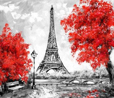 Wall mural Oil Painting, Paris. european city landscape. France, Wallpaper, eiffel tower. Black, white and red, Modern art