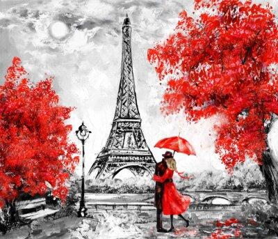 Wall mural Oil Painting, Paris. european city landscape. France, Wallpaper, eiffel tower. Black, white and red, Modern art. Couple under an umbrella on street