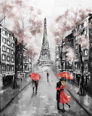 Wall mural Oil Painting, Paris. european city landscape. France, Wallpaper, eiffel tower. Modern art. Couple under an umbrella on street