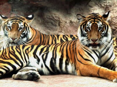 Wall mural Oil painting Tiger / photo effect  Oil painting