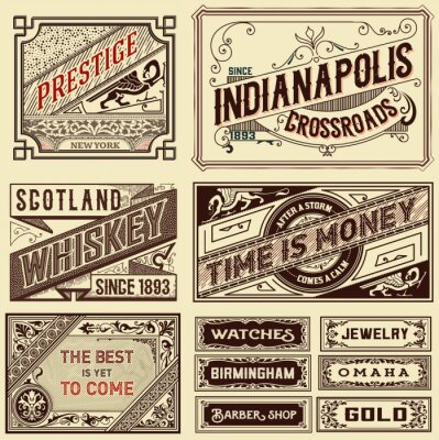 Wall mural Old advertisement designs - Vintage illustration