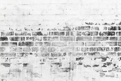 Wall mural Old brick wall with damaged white paint layer