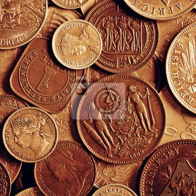 Old coins on grunge background