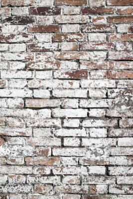 Wall mural Old large red brick wall background distressed with white paint