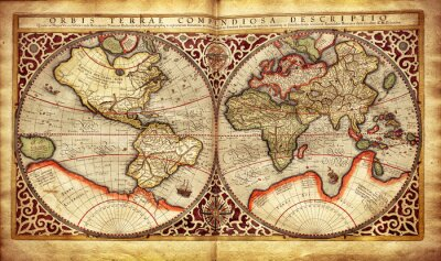 Wall mural Old map of the world, printed in 1587