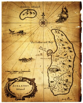 Old map of treasure island. Vintage map isolated on white background. Collage on the theme of treasure hunting, travel, adventure, research, pirates, history, etc.