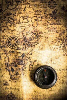 Wall mural old map with compass