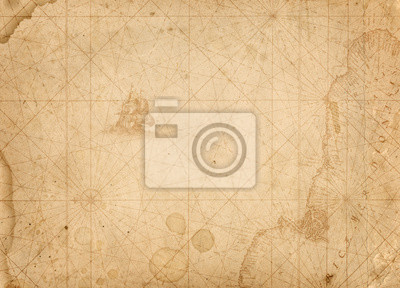 Wall mural old nautical treasure map background