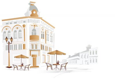 Old part of the city with cafe