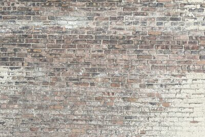 Wall mural Old red brick wall with white paint background texture