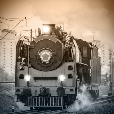 Wall mural Old retro russian steam locomotive.