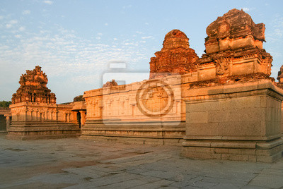 Old ruins in hampi india at sunset