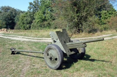Old Soviet anti-tank 45-mm cannon of WW2 time
