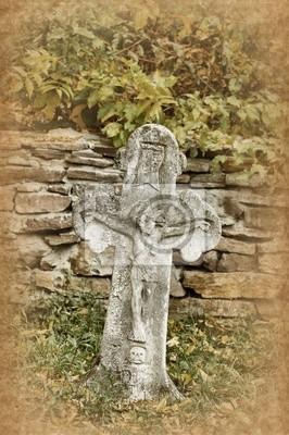 Old stone cross.Kiev, Ukraine . Skansen Pirogovo