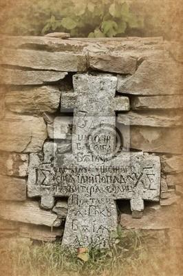 Wall mural Old stone cross.Kiev, Ukraine . Skansen Pirogovo