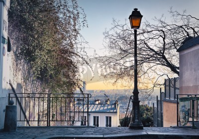 Wall mural Old street lamp on top of Montmartre Hill in Paris, France