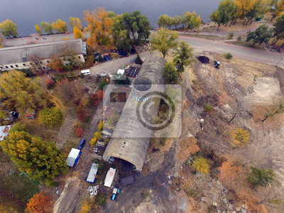 """Old tunnel of Stalin. Part of Kiev defense line in WW2 time. today named """"Concrete submarine"""". Drone aerial image. Kiev,"""