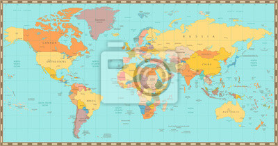 Wall mural Old vintage color political World map