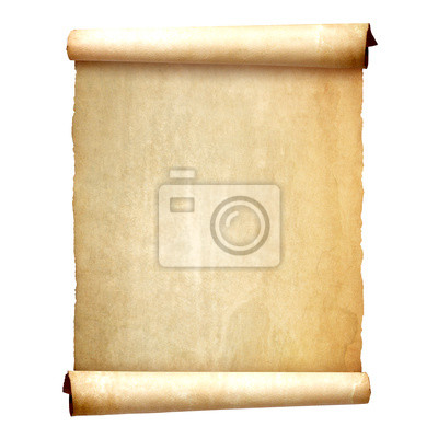 Wall mural Old vintage scroll isolated on white background