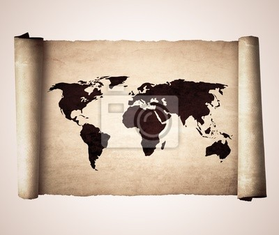 Old vintage scroll with the world map