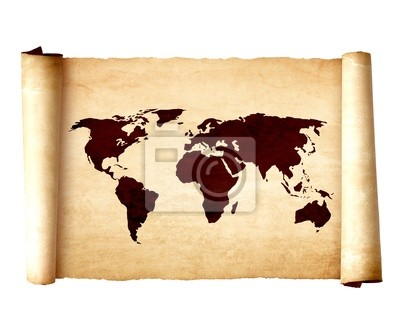 Old vintage scroll with the world map on white background