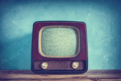 Wall mural Old vintage TV with wooden case