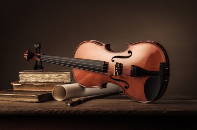 Wall mural Old violin still life with books
