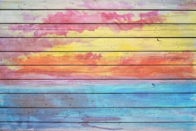 Wall mural Old wooden board in rainbow colors