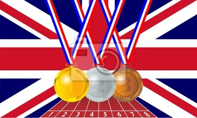 Olympic medals from the British flag