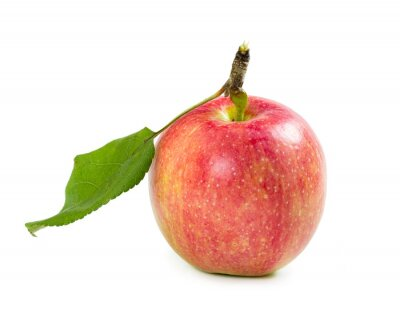 One red apple with leaf